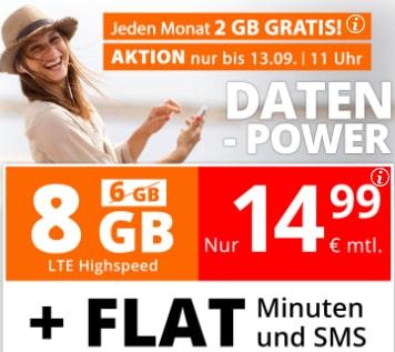 sim.de Allnet Flat mit 8GB für 14,99€   ohne Laufzeit