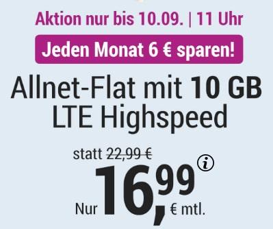 Simply 10GB LTE Allnet Flat für 16,99€   mit und ohne Laufzeit