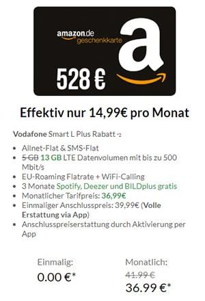 Vodafone Tarife mit bis zu 528€ Amazon Gutschein