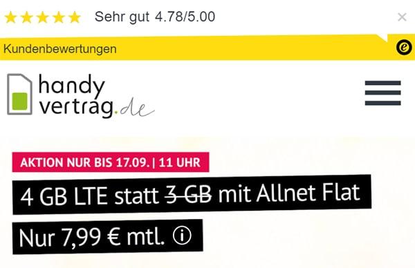4GB Handyvertrag.de LTE Allnet Flat für 7,99€   ohne Laufzeit