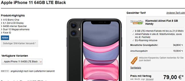 Klarmobil AllNet Flat Vodafone LTE (8GB) mit Apple iPhone 11 für 79€ (effektiv 10€ für Vertrag)