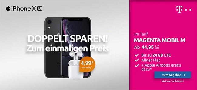Neue Telekom Magenta Mobil M (Young) Tarife (bis zu 24GB Flat) mit iPhone Xr (128GB) für 2,95€