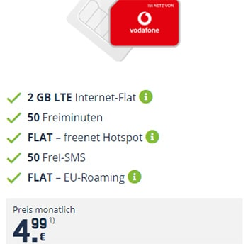 2GB Vodafone LTE Mobilcom Debitel Smart Surf für 4,99€ pro Monat