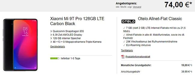 otelo Allnet-Flat Classic (bis zu 8GB LTE) ab 19,99€ mit Xiaomi Mi 9T Pro (128GB) für 74€ uvm.