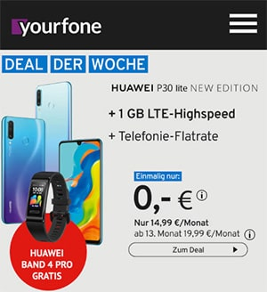 Yourfone LTE Allnet Flat mit Huawei P30 Lite New Edition für 0€