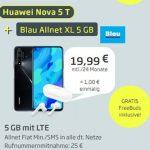 Blau Allnet XL (5GB LTE) ab 15,99€ mit Huawei Nova 5T für 1€ (effektiv 2,28€ pro Monat)