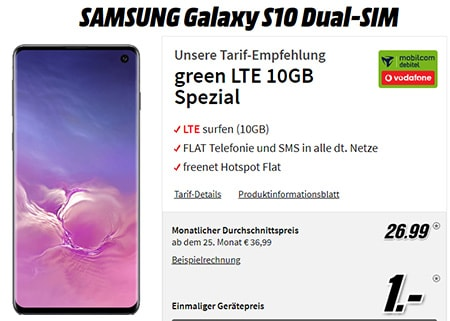 MD Green Vodafone LTE (bis zu 20GB) mit iPhone 11 ab 19,99€   Galaxy S10 für 1€