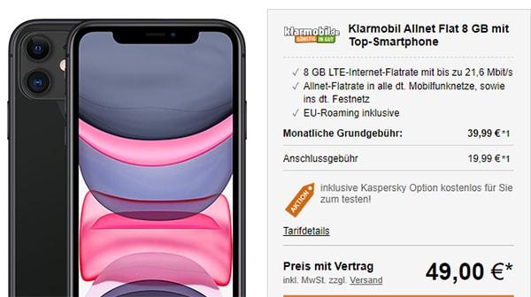 Klarmobil AllNet Flat Vodafone LTE (8GB) mit Apple iPhone 11 für 49€ | iPhone 11 Pro für 249€
