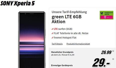 MD Green LTE (2GB, 6GB, 8GB) Telekom Tarife ab 11,99€ | TOP Deal: Sony Xperia 5 für 29€ (eff. -2,54€)