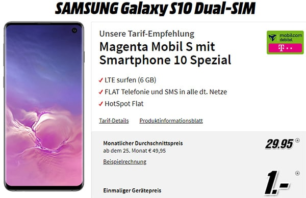 MD Telekom Magenta Mobil S 6GB LTE für 29,95€ mit Galaxy S10 für 1€