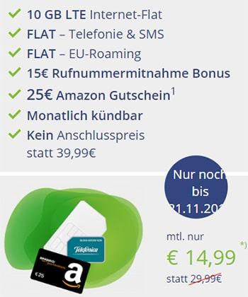 MD Telefonica Allnet 10GB Flat LTE für 14,99€ mit 25€ Amazon Gutschein | ohne Laufzeit