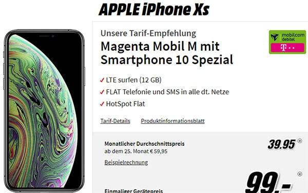 MD Telekom Magenta Mobil M (12GB LTE Flat) mit Apple iPhone Xs für 99€