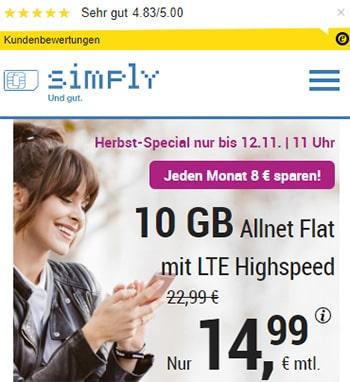 Simply 10GB LTE Allnet Flat für 14,99€ | mit und ohne Laufzeit