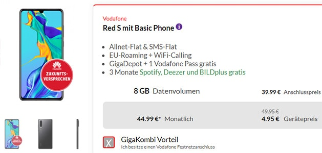 Vodafone RED S (8GB LTE) mit TOP-Smartphones ab 1€