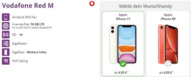 Vodafone RED M (16GB LTE) mit TOP-Smartphones ab 1€