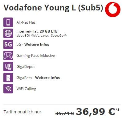 Vodafone Young L 15GB Flat (5G Netz Tarif) mit Handy ab 1€