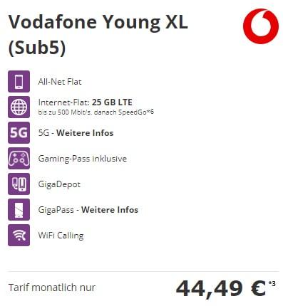 Vodafone Young XL 25GB Flat (5G Netz Tarif) mit Handy ab 1€