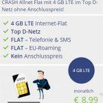 4GB Vodafone Allnet Flat von Crash (Klarmobil) für 8,99€ pro Monat