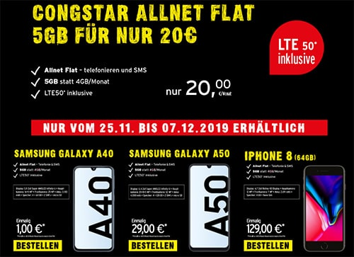 Congstar Allnet Flat (bis zu 5GB LTE) ab 20€ mit Nintendo Switch für 4,95€, Xiaomi Pocophone F1 für 19,95€ uvm.