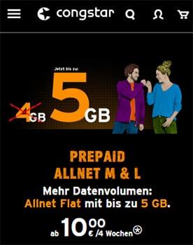 Congstar Prepaid LTE Allnet Flat Tarife ab 11€ pro Monat | Telekom LTE Tarif ohne Laufzeit
