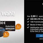 Klarmobil Telekom LTE Vertrag - 500MB mit 100 Minuten für 2,99€ mit 30€ Amazon Gutschein o. Amazon Echo Dot Gen.3