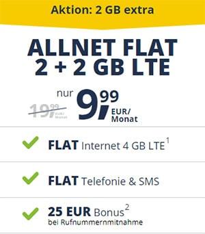 Freenet Mobile 4GB Vodafone LTE Flat für 9,99€ | monatlich kündbar