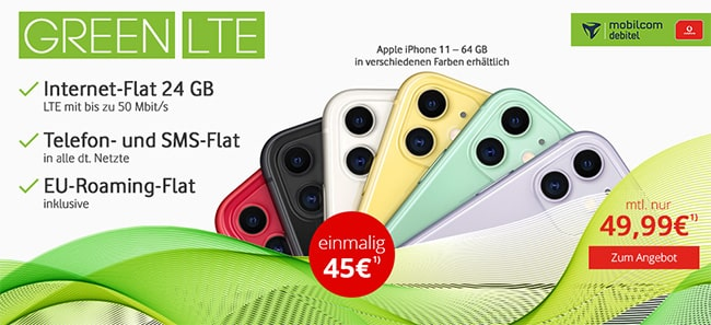24GB MD Green Vodafone LTE Tarif ab 39,99€ mit iPhone 11 ab 45€