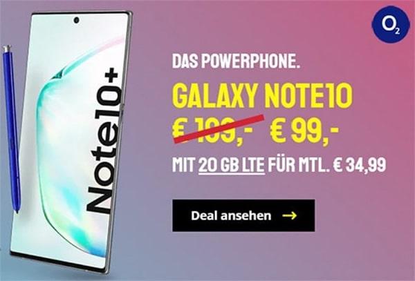 o2 Free M Boost (20 GB LTE) mit Galaxy Note 10 für 99€