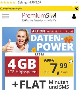 4GB PremiumSIM LTE Allnet Flat für 7,99€ | ohne Laufzeit