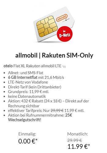 Allmobil otelo - Vodafone LTE Allnet Flat mit 6 GB für 11,99€