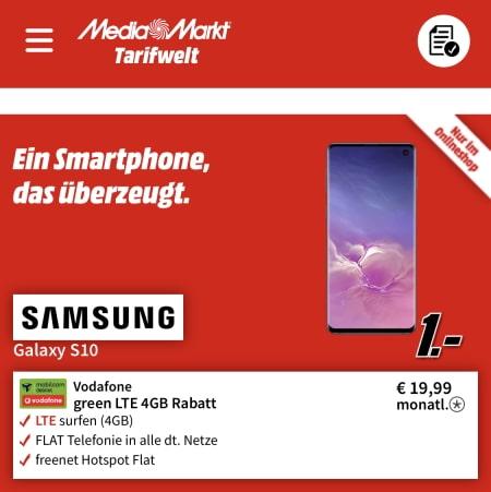 Galaxy S10 für 1€ mit MD Green Vodafone 4GB Tarif für 19,99€ (effektiv -7€ pro Monat)
