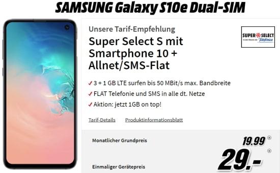 Saturn Super Select S 4GB LTE für 19,99€ mit Galaxy S10e für 29€