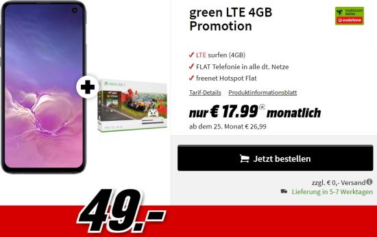 Galaxy S10e + Xbox One S 1TB - Forza Horizon 4 LEGO Speed Champions für 49€ mit MD Green Vodafone 4GB Tarif für 17,99€ (effektiv -9,55€ pro Monat)