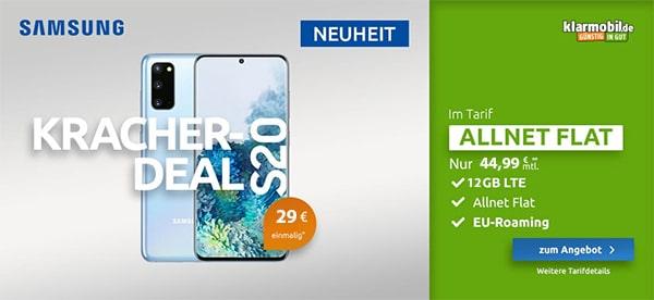Klarmobil AllNet Flat Vodafone LTE (10 / 12GB) mit Apple iPhone 11 ab 4,95€ | Huawei P30 Pro ab 4,99€ | Galaxy S20 ab 4,99€