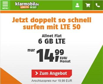 Klarmobil Allnet Flat Tarife ab 9,99€ / Monat mit LTE 50 Option inkl.