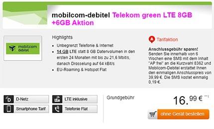 14GB Telekom LTE Allnet Flat für rechnerisch 16,99€