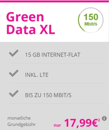 15GB LTE Telekom Internet Flat für 17,99€ pro Monat