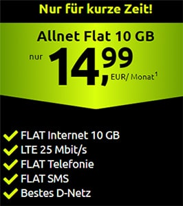 10GB Crash Telekom LTE Allnet Flat für 14,99€
