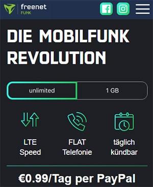 Freenet FUNK - unlimitierte LTE Allnet Flat für 0,99€ pro Tag | Unbegrenztes Datenvolumen