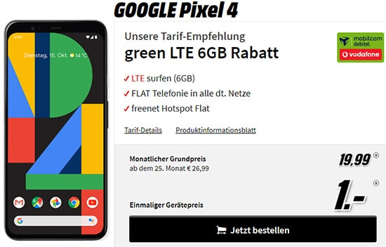 Google Pixel 4 für 1€ mit MD Green Vodafone 6GB LTE Tarif für 19,99€