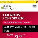 6GB Handyvertrag.de LTE Allnet Flat für 9,99€   ohne Laufzeit