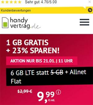6GB Handyvertrag.de LTE Allnet Flat für 9,99€ | ohne Laufzeit