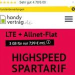 3GB Handyvertrag.de LTE Allnet Flat für 7,99€ | ohne Laufzeit