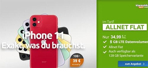 Klarmobil AllNet Flat Vodafone LTE (5GB) für 34,99€ mit Apple iPhone 11 ab 39€ (effektiv 6€ pro Monat)