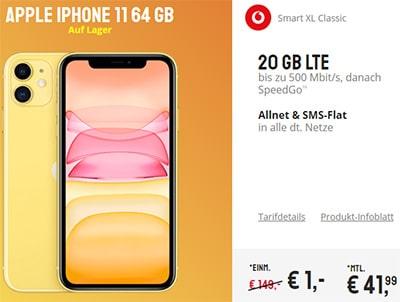 25GB LTE Vodafone Smart XL ab 41,99€ mit iPhone 11 ab 1€, iPhone Xs ab 4,95€, OnePlus 7T für 4,95€, Galaxy S20 ab 99€