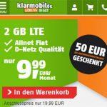 Klarmobil Allnet Flat Tarife ab 9,99€ / Monat | TOP-Tarif: 10GB Telekom LTE für 19,99€