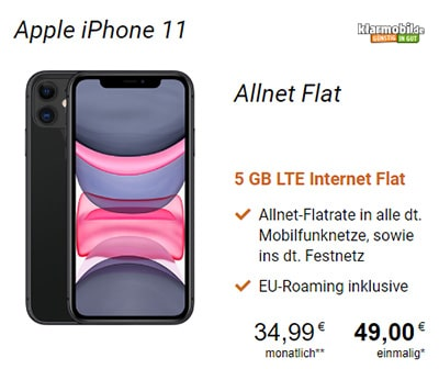 Klarmobil AllNet Flat Vodafone LTE (5GB) für 34,99€ mit Apple iPhone 11 ab 49€