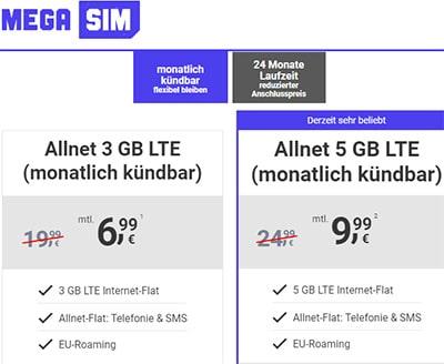 3GB LTE Mega SIM Allnet Flat für 6,99€ | ohne Laufzeit