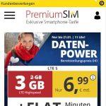 3GB PremiumSIM LTE Allnet Flat für 6,99€ | ohne Laufzeit