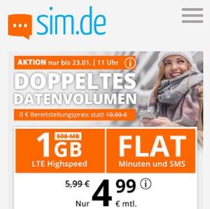 sim.de Allnet Flat mit 1GB für 4,99€ | ohne Laufzeit und ohne Anschlussgebühr